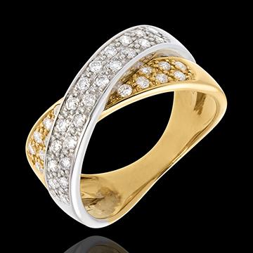 Inel tandem pavat - 0.5 carate - 36 diamante - aur alb şi aur galben de 18K