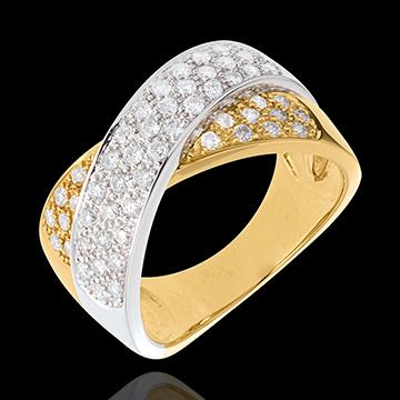 Inel tandem pavat - 0.8 carate - 57 diamante - aur alb şi aur galben de 18K