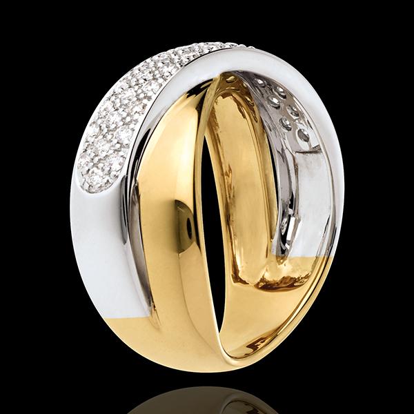 Inel tandem semi pavat - 0.4 carate - 40 diamante - aur alb şi aur galben de 18K