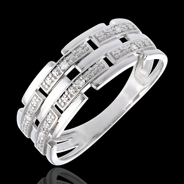 Inel ţesătură din aur alb de 18K pavat cu diamante - 6 diamante