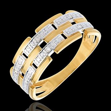Inel Ţesătură pavat cu diamante - 6 diamante - aur alb şi aur galben de 18K