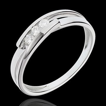 Inel trilogie bipolar aur alb de 18K - 3 diamante