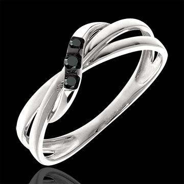 Inel trilogie cerc diamante negre - aur alb de 18K