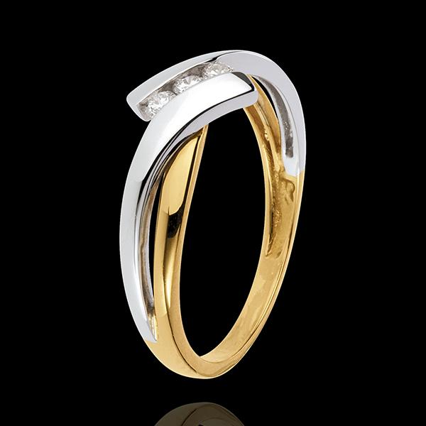 Inel Trilogie Cuib Preţios - 2 nuanţe de aur - 3 diamante - aur alb şi aur galben de 18K