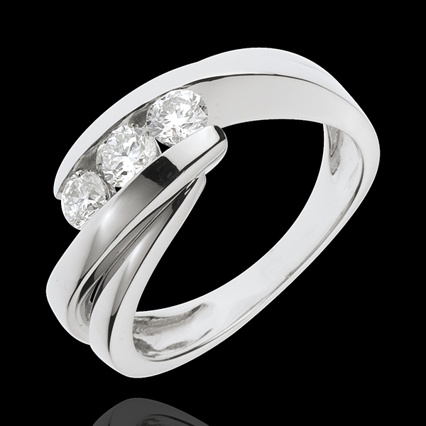 Inel Trilogie Cuib Preţios - Cântecel - aur alb de 18K - 0.54 carate - 3 diamante