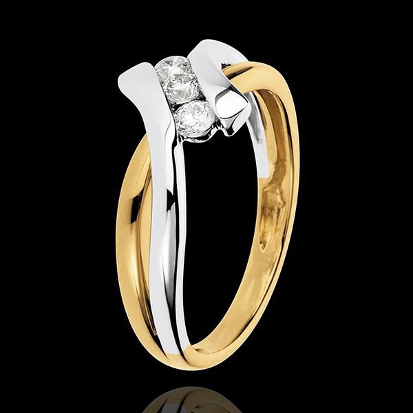 Inel Trilogie Cuib Preţios - Dolce Vita - 3 diamante 0.22 carate - aur alb şi aur galben de 18K