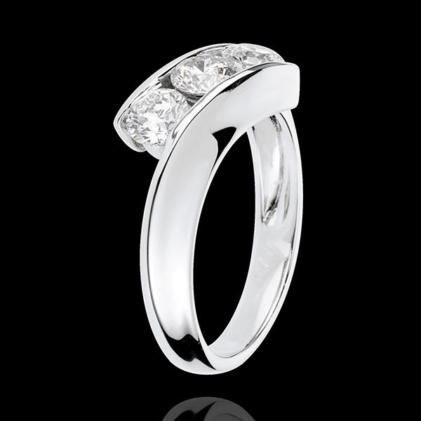 Inel Trilogie Cuib Preţios - Feminitate - aur alb de 18K - 1 carat