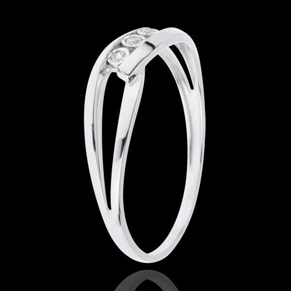 Inel Trilogie Cuib Preţios - Sărutul Iubirii - aur alb de 18K