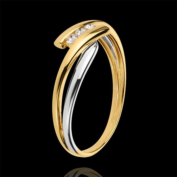 Inel Trilogie Cuib Preţios - Tango - diamant 0.07 carate - aur alb şi aur galben de 9K