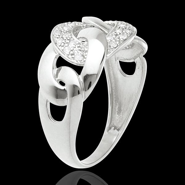 Inel zale din aur alb de 18K pavat - 24 diamante