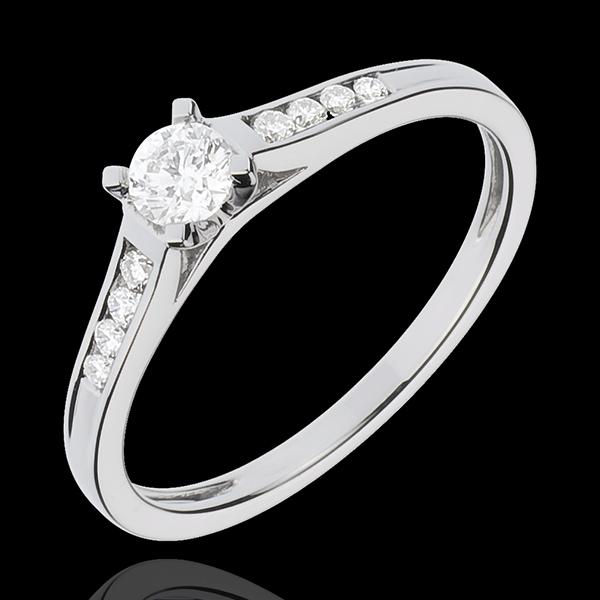 Inelul de Logodnă Aur Alb Solitaire Alteţă - diamant 0.20 carate - aur alb de 18K