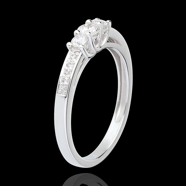 Inelul de Logodnă Aur Alb Trilogie pavat - 0.34 carate - aur alb de 18K
