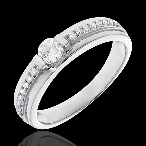 Inelul de logodnă Solitaire Destin - Eugénie - diamant 0.22 carate - aur alb de 18K