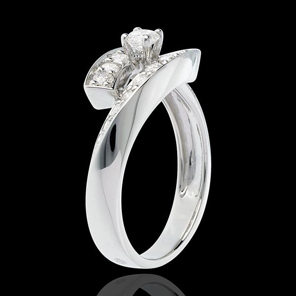 Inelul Solitaire Cuib Preţios- Diva - aur alb de 18K - model mare- diamant 0.15 carate