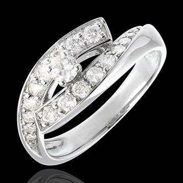 Inelul Solitaire Destin - Diva - aur alb de 18K - model mare- diamant 0.15 carate