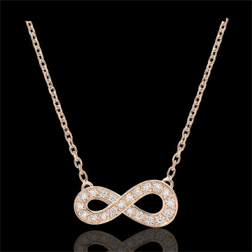 Infinity necklace - rose gold and diamonds - 9 carats