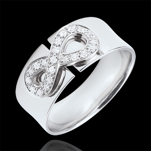 Infinity Ring - 18 karaat witgoud met Diamanten
