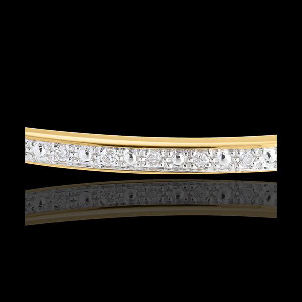 Jonc diorama barrette diamants - or jaune 18 carats - 11 diamants