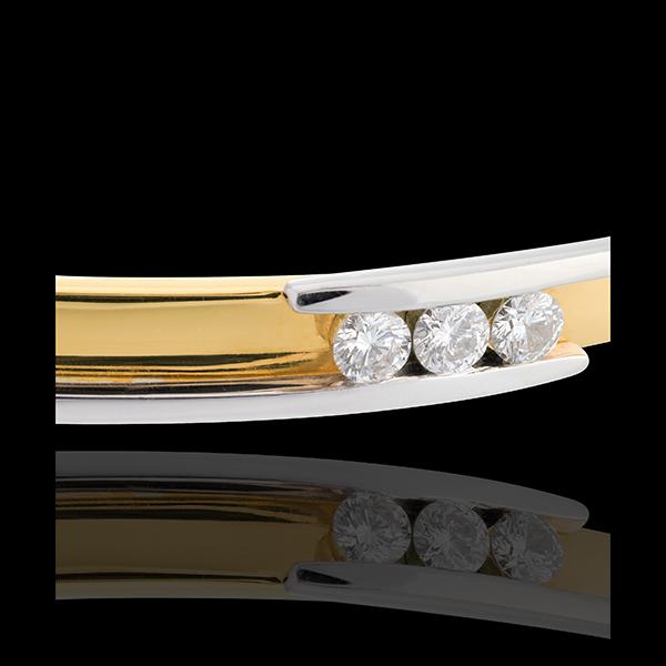 Jonc trilogie bipolaire - 3 diamants 0.24 carats - or blanc et or jaune 18 carats