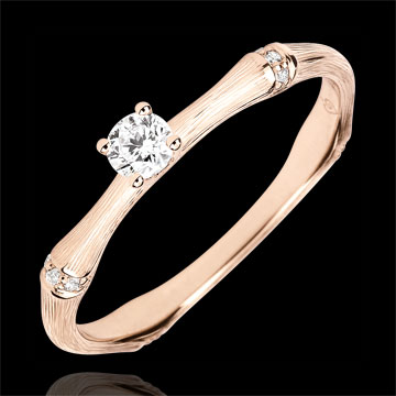 Jungle Sacrée engagement ring - 0.09 carat diamond - brushed pink gold 18 carats