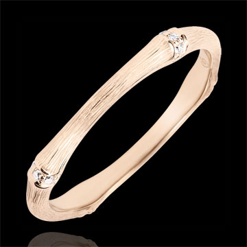 Jungle Sacrée wedding ring - Multi diamond 2 mm - brushed pink gold 9 carats