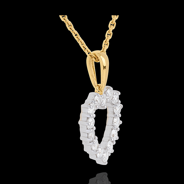 Kettenanhänger Herzrahmen - 0.9 Karat - 14 Diamanten