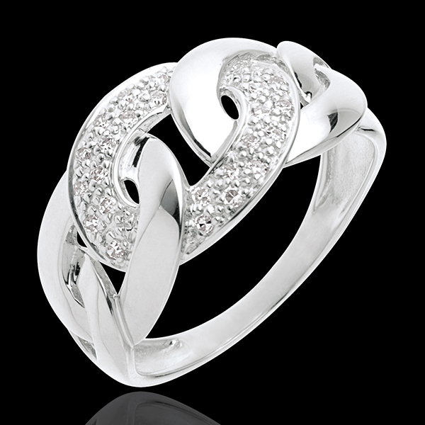 Kettingring witgoud met pavézetting - 24 Diamanten - 18 karaat goud