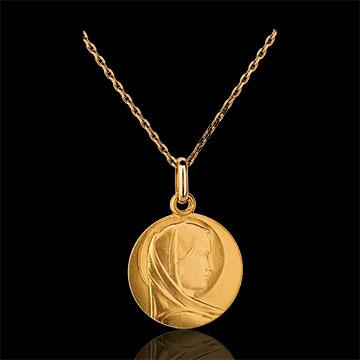 Klasyczny medalik z Matką Boską 15 mm - złoto żółte 18-karatowe