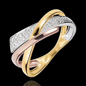 Kleiner Ring Saturn Variation 2 - Dreierlei Gold - 18 Karat