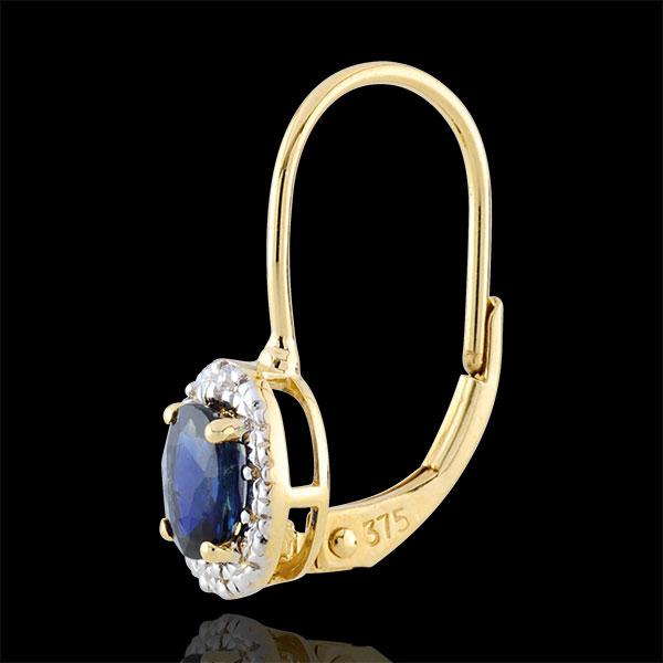 Kolczyki Apollon - szafiry - złoto białe i złoto żółte 9-karatowe