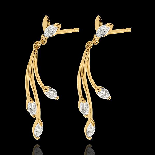 Kolczyki Bujna Roślinność - złoto białe i żółte 18-karatowe oraz diamenty