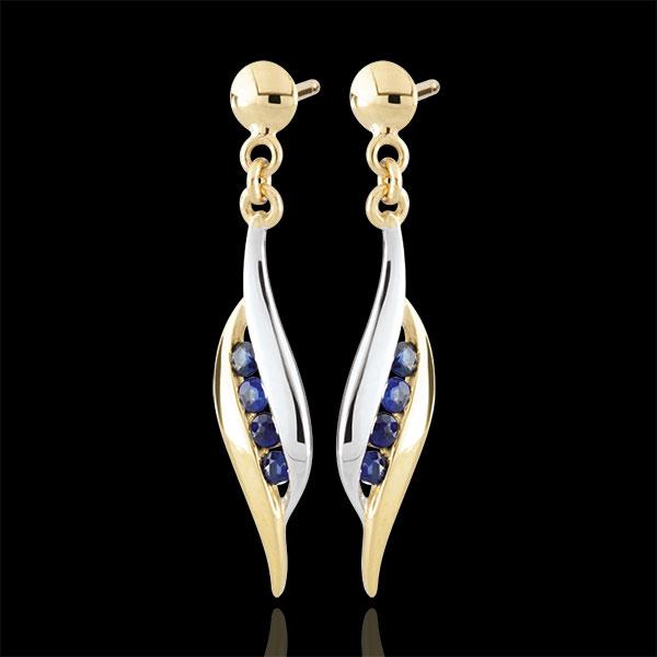 Kolczyki Daniella - szafiry - złoto białe i złoto żółte 9-karatowe