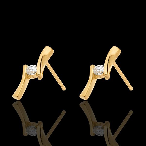 Kolczyki Drogocenne Gniazdo - Apostrof z diamentami - złoto żółte 18-karatowe - 0,1 karata