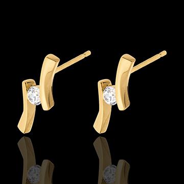 Kolczyki Drogocenne Gniazdo - Apostrof z diamentami - złoto żółte 18-karatowe - 0,14 karata