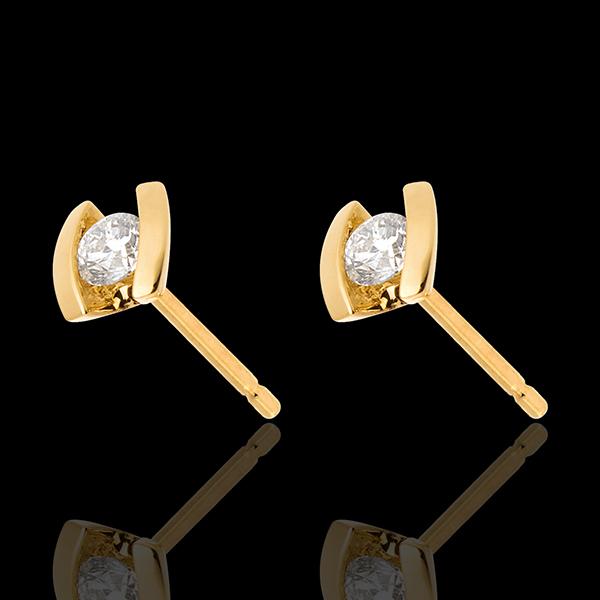 Kolczyki Drogocenne Gniazdo - Kaldera - złoto żółte 18-karatowe - 0,21 karata