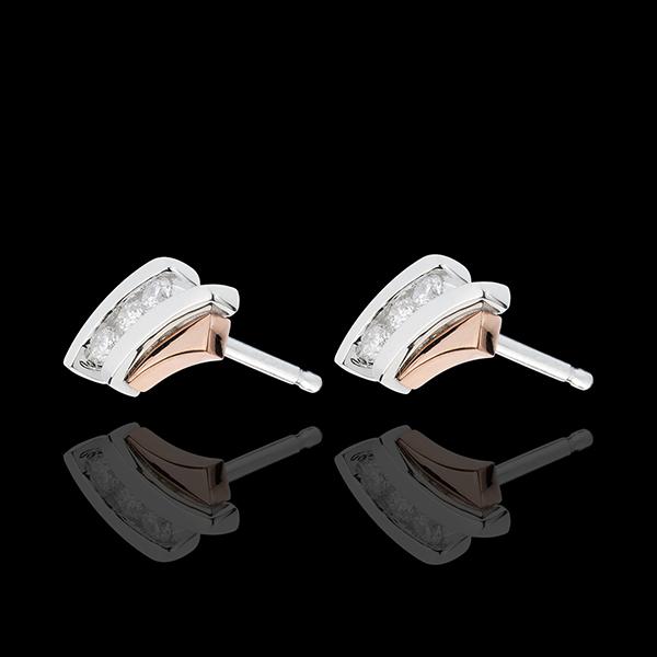 Kolczyki Drogocenne Gniazdo - Trzy diamenty - 3 diamenty - złoto białe i złoto różowe 18-karatowe