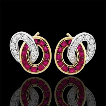 Kolczyki Duorama - rubiny i diamenty - złoto białe i złoto żółte 9-karatowe