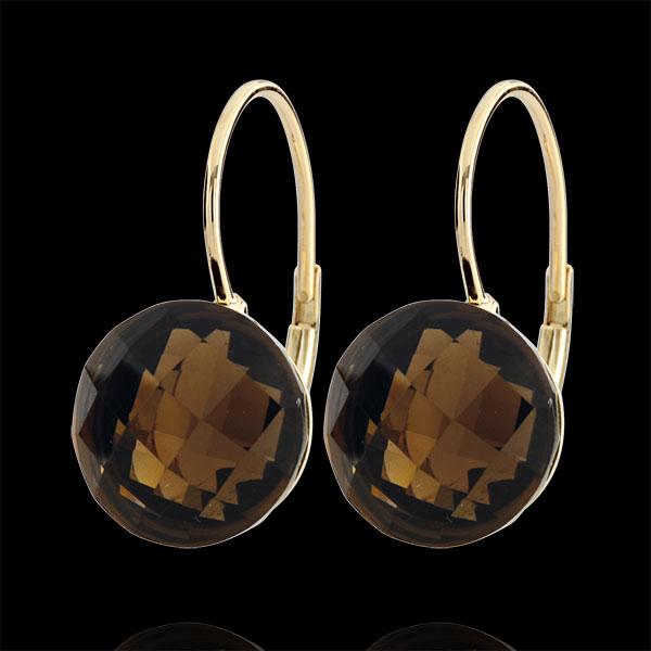 Kolczyki Emma - kwarc dymny - złoto żółte 9-karatowe