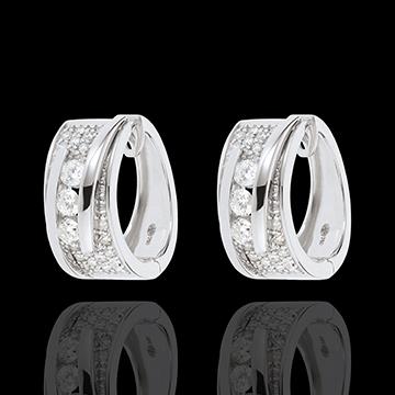 Kolczyki Feeria - Linoskoczek - złoto białe 18-karatowe - 64 diamenty - 0,73 karata