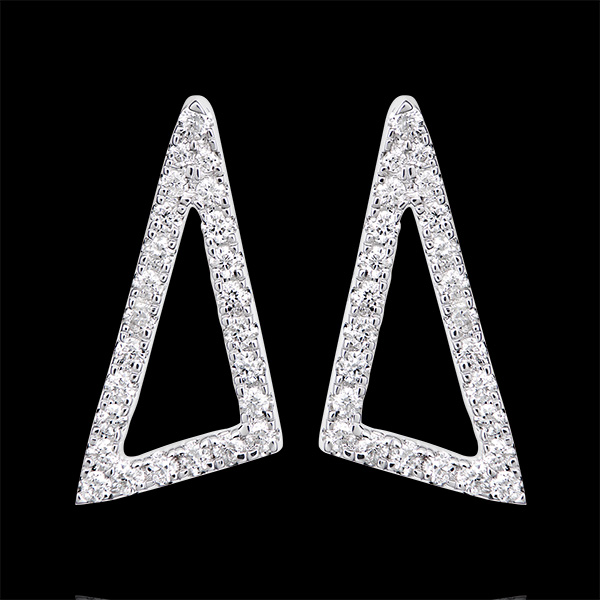 Kolczyki - Gwiezdne trójkąty - białe złoto 18-karatowe wysadzane diamentami