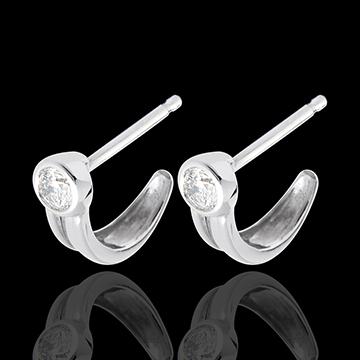 Kolczyki Karabińczyk z diamentem - sztyfty z białego złota 18-karatowego - 0,25 karata