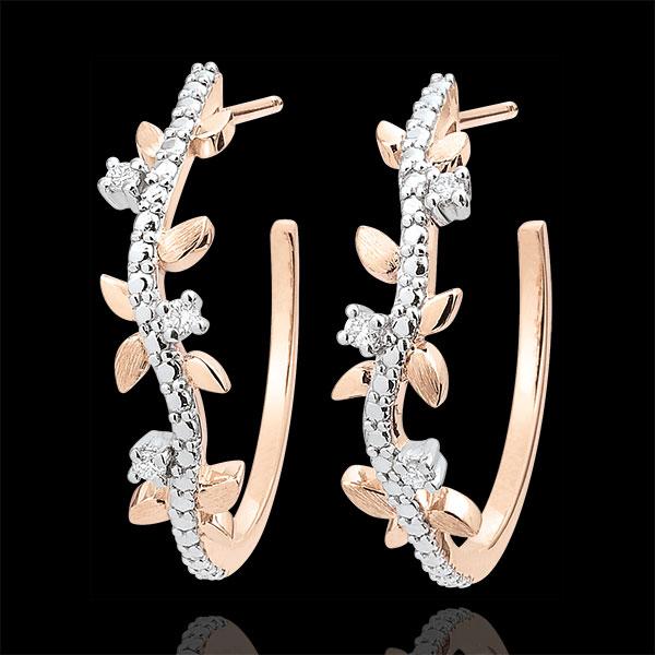 Kolczyki w kształcie koła Zaczarowany Ogród - Królewskie Liście - złoto różowe 18-karatowe i diamenty
