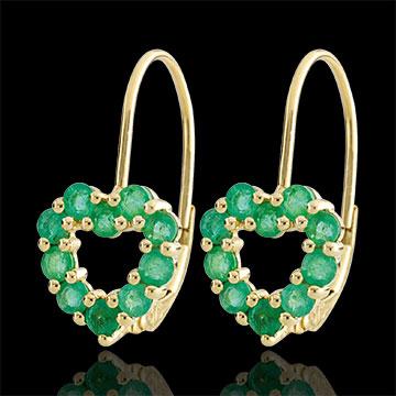 Kolczyki w kształcie serca Rosie - szmaragdy - złoto żółte 9-karatowe
