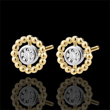 Kolczyki Kwiat Solny - Koło - złoto białe i złoto żółte 9-karatowe