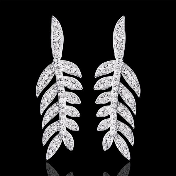 Kolczyki - Laury Chwały - białe złoto 18-karatowe wysadzane diamentami