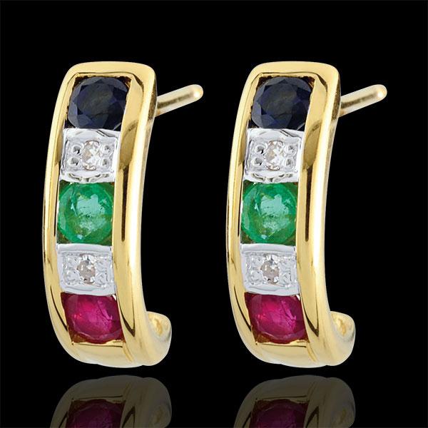 Kolczyki Lola - szmaragd, szafir, rubin i diament - złoto żółte 9-karatowe