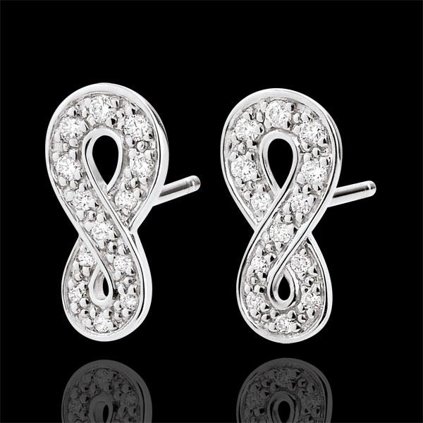 Kolczyki Nieskończoność - złoto białe 9-karatowe i diamenty