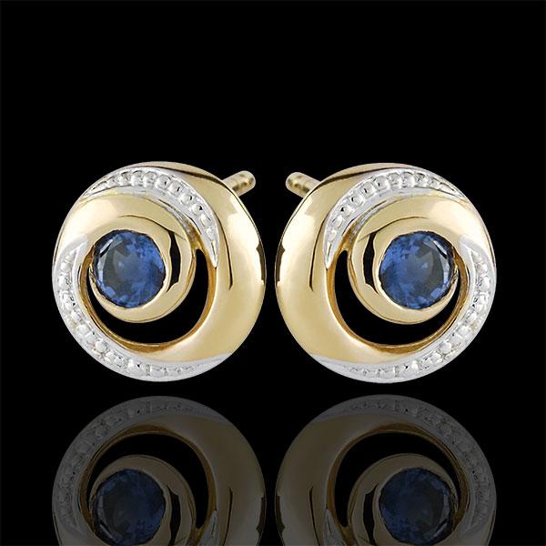 Kolczyki Nieskończony Wir - szafiry - złoto białe i złoto żółte 9-karatowe