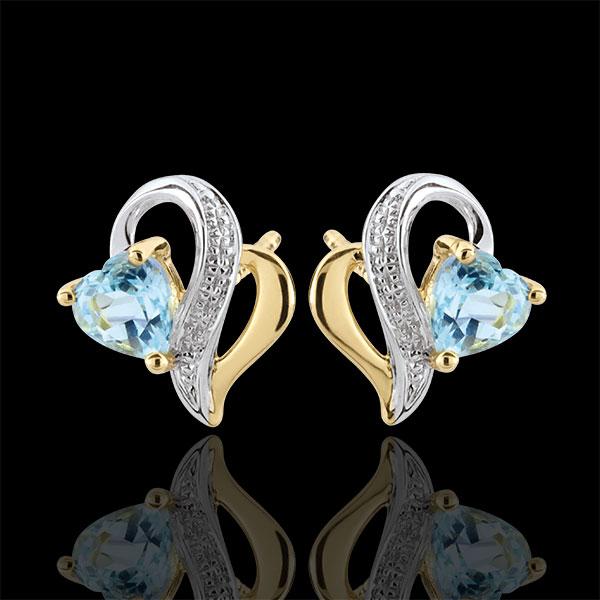 Kolczyki Ouaki - niebieski topaz - złoto białe i złoto żółte 9-karatowe