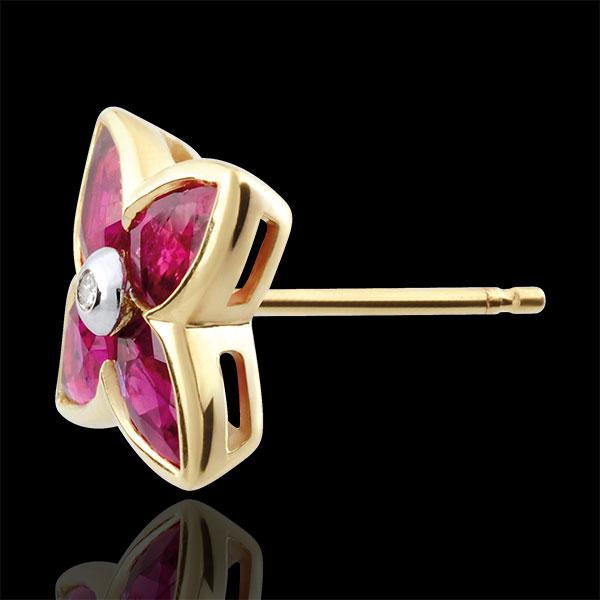 Kolczyki Piękna Gwiazda - rubin - złoto żółte 9-karatowe